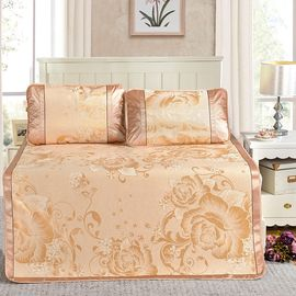 沁园 凉席1.8m床冰丝席三件套双人可折叠夏凉空调席1.5米席子