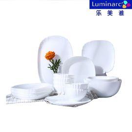 乐美雅  餐具露特莎18件套中式碗盘套装钢化玻璃餐盘汤碗N5460