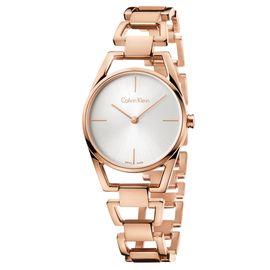Calvin Klein 卡文克莱(ck)手表 DAINTY系列 玫瑰金条纹刻度石英女士腕表
