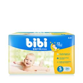 五羊 bibi智能干爽婴儿纸尿裤S码34片袋装