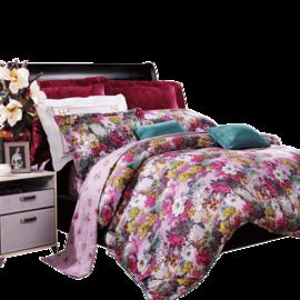 富安娜 满园春色 纯棉床品四件套1.5米床