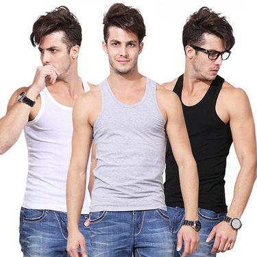 北极绒 时尚男士打底背心棉质舒适背心 3件装