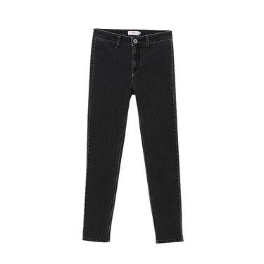 初语 2018新款做旧水洗显瘦牛仔裤女黑色小脚裤修身铅笔裤子8711815001
