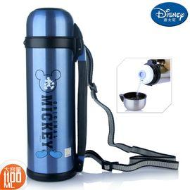 迪士尼 Disney-蓝色不锈钢保温壶1100毫升大容量保冷暖车载家用出游肩背手提水瓶壶杯
