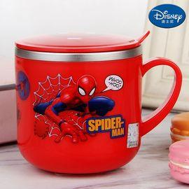 迪士尼 Disney-蜘蛛侠红单柄带盖水杯290毫升宝宝孩学童口杯防漏耐摔带把手不锈钢广口直饮杯