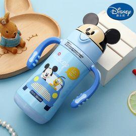 迪士尼 Disney-卡通盖儿童保温杯300毫升宝宝水瓶不锈钢双柄带吸管幼孩学园暖水壶趣味水杯-米奇蓝