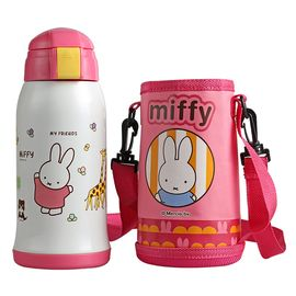 MIFFY米菲 保温杯儿童双盖多用保温杯带吸管水杯 学生水壶不锈钢保温瓶吸管杯子 MF-S480(粉,蓝)