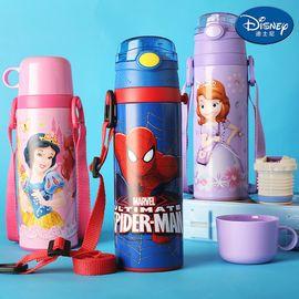 迪士尼 Disney-双盖保温杯480毫升不锈钢保冷热水壶感温变色吸管杯直饮杯孩童学园背带户外暖水瓶杯壶