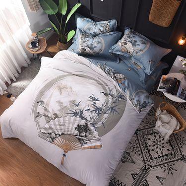 宝瑞祥 全棉高支高密活性柔光缎四件套 床上用品 床品 适合1.5-1.8米床 惜江月