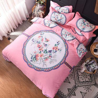 宝瑞祥 全棉高支高密活性柔光缎四件套 床上用品 床品 适合1.5-1.8米床 胭脂恋-粉