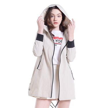 makino/犸凯奴 2018新款 时尚休闲简约 女士长款风衣 纯色连帽外套MA181003-2