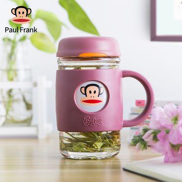 大嘴猴 (paulfrank)玻璃杯 男女花茶杯子办公家用水杯带盖 随手杯带把手420ml