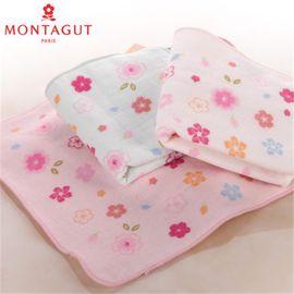 梦特娇 Montagut和风系列樱花飘舞纱布纯棉四方小毛巾 手帕 精致
