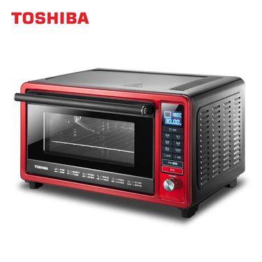 TOSHIBA/东芝 家用多功能智能台式烤箱变频微电脑式电烤箱D3-256A石窑烤炉 红色