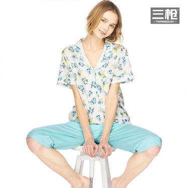 三枪 纯棉睡衣女2018春夏新品印花翻领纽约设计全棉女士家居服套装
