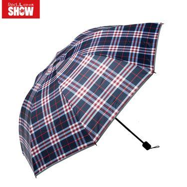 红叶 经典格子伞折叠两用三折伞学生伞男女便携商务雨伞