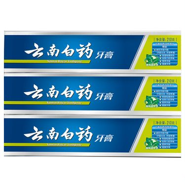 云南白药 牙膏 清新口气去异味清火缓解养护口腔薄荷香型210g三只装