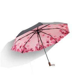 蕉下 18款小黑伞防晒伞防紫外线太阳伞晴雨两用三折伞(枫摇)