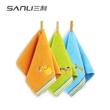 三利 纯棉卡通绣花儿童毛巾 25×50cm 柔软彩边洗脸面巾 混色3条装
