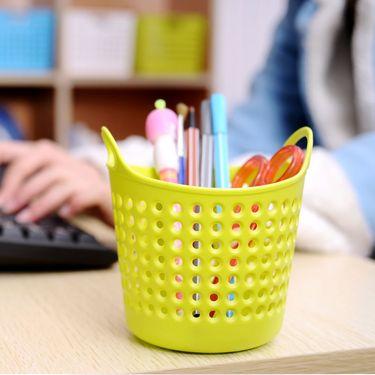 inomata 日本进口小物收纳篮 笔筒 桌面文具收纳盒 迷你收纳框 塑料筐