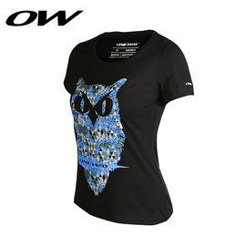 ONE WAY 时尚印花 简约圆领运动T恤短袖女 9616230108