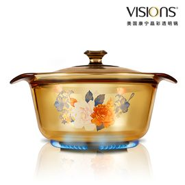 World Kitchen 康宁 1.6公升时尚花卉系列超耐热透明玻璃煮锅 VS-16-FL-FLR