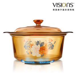 World Kitchen 康宁 VISIONS 晶彩透明锅(富贵吉祥花卉系列) VSD-35-FLR(3.5升 花卉煮锅)
