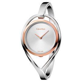 CK 卡文克莱(CalvinKlein)手表 LIGHT系列银色钢表带手镯式石英女表K6L2SB16