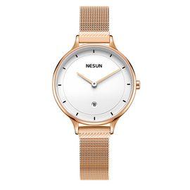 Nesun尼尚  女士手表钢带防水石英表超 薄学生时尚潮流 简约款 玫白 LS880 6A