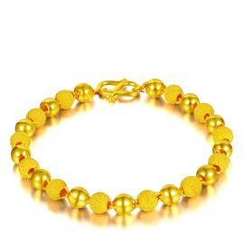 古钻 GZUAN古钻 黄金手链 约6.35克足金磨砂光珠手链CG2J1001