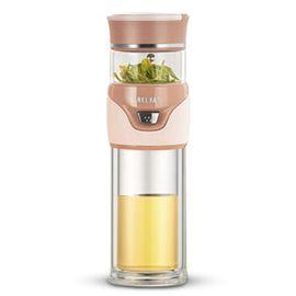 物生物 慕茗茶水分离泡茶杯 双层玻璃杯男女便携随手耐热过滤水杯子