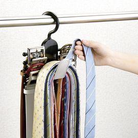 NISHIKI LEC 日本进口领带架 塑料防滑衣架 皮带架 丝巾整理收纳架