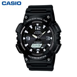 卡西欧 (Casio)手表  防水双显太阳能动力石英男表 AQ-S810W-1AVDF