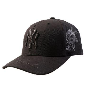 MLB 棒球帽子NY洋基队鸭舌帽 经典黑白侧边刺绣玫瑰花男女通用款 32CPFB711-50L