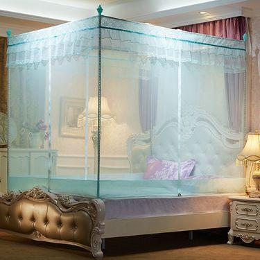 艾桐 坐床式蚊帐 三开门外穿杆方顶纹帐  单人双人床有底全底蚊帐 1.5/1.8米 床