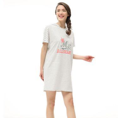 XUSANY/雪仙丽 女款甜美可爱舒适条纹短袖连帽睡裙4261417