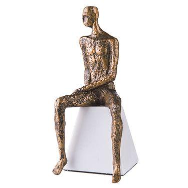 奇居良品 北欧现代简约创意思考人物大理石摆件 A款 金色 JSBJ62010A