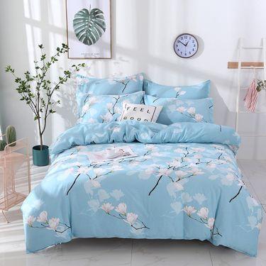 洁帛 全棉斜纹印花床单式四件套 床单 被套 枕套 四件套适合1.5和1.8m床使用