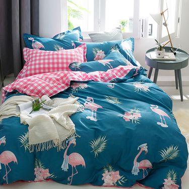 九洲鹿 家纺 高支高密全棉斜纹印花双人床上四件套  【可全积分支付】