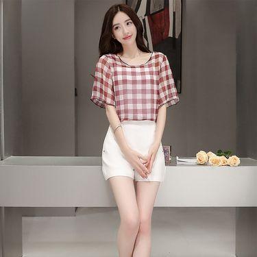 乔伊思 2018夏季新品百搭简约轻薄条纹女款雪纺衫J725450