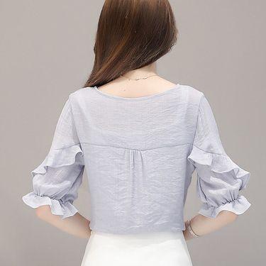 乔伊思 韩版甜美通勤系带五分袖荷叶边拼接女款雪纺衫J725486