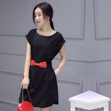 乔伊思 2018夏季新品纯色百搭圆领短袖连衣裙系腰带W723146