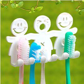 CHANG SIN LIVING 韩国进口卡通牙刷架 五位牙刷收纳架 吸盘牙刷整理架 附加固垫