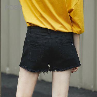 PASS 2018新款夏装黑色牛仔短裤女宽松百搭学生直筒热裤显瘦6821835034