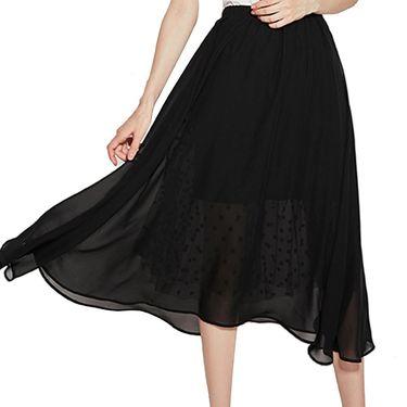 VEE 女装春夏新款黑色网纱透视雪纺长半裙E724096