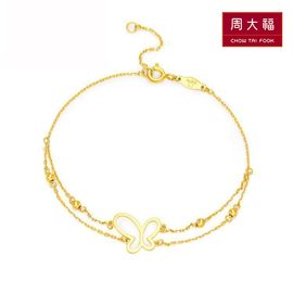 周大福 珠宝首饰17916系列22k金彩金蝴蝶手链E122938