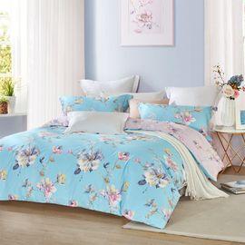 LOVO 全棉印花四件套 床单式套件双人1.5米床 良缘美景(被套200x230cm)VAD6740-4