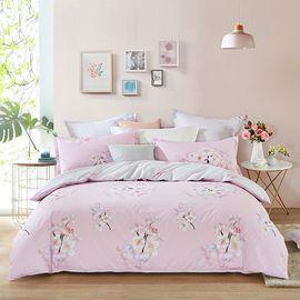 LOVO 丝光棉床上四件套 床单式套件双人1.5米床 柔情年华(被套200x230cm)VAC6403-1