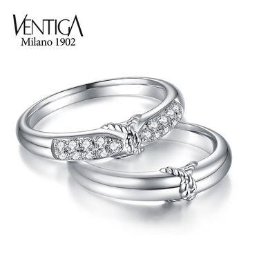 梵蒂加 Ventiga 结婚对戒男女款18k白金镶钻石情侣戒指环订婚礼物