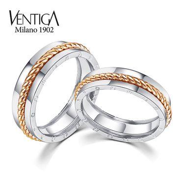 梵蒂加 Ventiga 18K白金+玫瑰金素金戒指情侣对戒 节日礼物